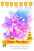 stock photo of navratri  - illustration of goddess Durga in Happy Navratri background - JPG