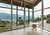 mountain house; modern architecture; interior; veranda