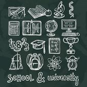 School education chalkboard icons