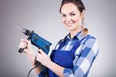 Beautiful Woman With Drill