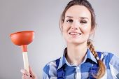 Handywoman With Plunger