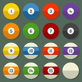 Pool Balls 1-15 In A Flat Vector Style