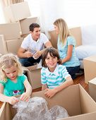 Cheerful Family Packing Boxes