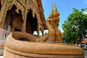 Traditional Thai Style Art Of Naga Statue In Thai Temple Of Buddhism, Wat Mahawan Temple In Lamphun,