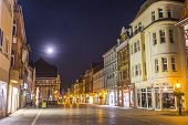 Old City Of Muelhausen In Thuringia In Moonshine