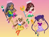 foto of scepter  - Cute goddess dress up flying and hold a scepter on her hand - JPG