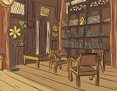 Illustrated color sketch of an olden reading room or living room with wooden furniture
