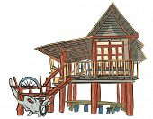 Illustrated sketch of a rustic wooden building