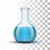 picture of liquids  - Chemical laboratory transparent flask with blue liquid - JPG