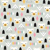 Seamless Christmas time geometric pastel Scandinavian style grizzly bear illustration background pattern in vector