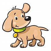 picture of little puppy  - Children vector illustration of funny little dog or puppy - JPG