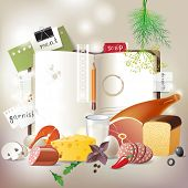 Highly detailed open cookbook with products for cooking