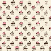 stock photo of whip-hand  - Hand drawn seamless ornament with cupcakes - JPG