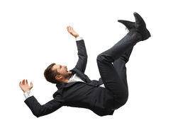 image of screaming  - falling and screaming businessman in formal wear over white background - JPG