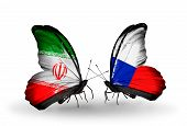 Two Butterflies With Flags On Wings As Symbol Of Relations Iran And Czech
