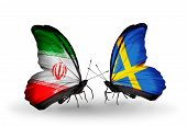 Two Butterflies With Flags On Wings As Symbol Of Relations Iran And Sweden