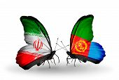 stock photo of eritrea  - Two butterflies with flags on wings as symbol of relations Iran and Eritrea - JPG