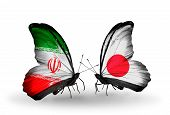 Two Butterflies With Flags On Wings As Symbol Of Relations Iran And  Japan