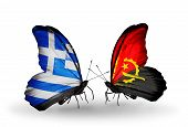 Two Butterflies With Flags On Wings As Symbol Of Relations Greece And Angola