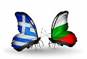 Two Butterflies With Flags On Wings As Symbol Of Relations Greece And Bulgaria