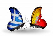 Two Butterflies With Flags On Wings As Symbol Of Relations Greece And Bhutan