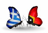 Two Butterflies With Flags On Wings As Symbol Of Relations Greece And  East Timor
