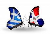 Two Butterflies With Flags On Wings As Symbol Of Relations Greece And Dominicana