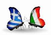 Two Butterflies With Flags On Wings As Symbol Of Relations Greece And Ireland
