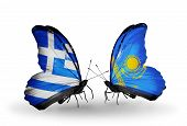 Two Butterflies With Flags On Wings As Symbol Of Relations Greece And Kazakhstan
