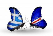 Two Butterflies With Flags On Wings As Symbol Of Relations Greece And Cape Verde