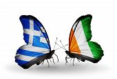Two Butterflies With Flags On Wings As Symbol Of Relations Greece And Cote Divoire