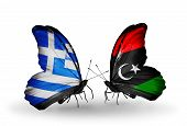 Two Butterflies With Flags On Wings As Symbol Of Relations Greece And Libya