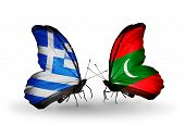 Two Butterflies With Flags On Wings As Symbol Of Relations Greece And Maldives