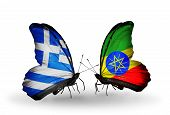 Two Butterflies With Flags On Wings As Symbol Of Relations Greece And Ethiopia