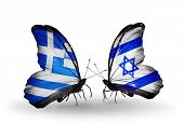 Two Butterflies With Flags On Wings As Symbol Of Relations Greece And Israel