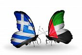 Two Butterflies With Flags On Wings As Symbol Of Relations Greece And United Arab Emirates