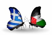 Two Butterflies With Flags On Wings As Symbol Of Relations Greece And Palestine