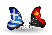 foto of papua new guinea  - Two butterflies with flags on wings as symbol of relations Greece and Papua New Guinea - JPG