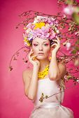 Fresh skin Girl with Spring Flowers on her head