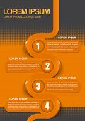 Vector orange brochure design with 1234 steps