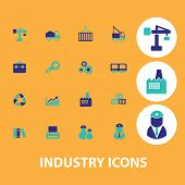 factory, industry icons set, vector