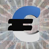 Euro symbol with Estonian flag on Euro currency illustration