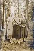 POLAND AUGUST 19, 1934: vintage photo of three women in forest
