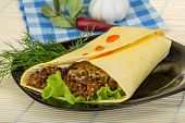 pic of shawarma  - Shawarma with meat salad leaves and spices - JPG