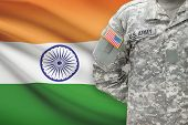 American Soldier With Flag On Background - India