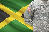 American Soldier With Flag On Background - Jamaica