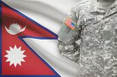American Soldier With Flag On Background - Nepal