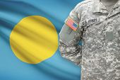 American Soldier With Flag On Background - Palau
