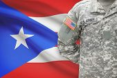 American Soldier With Flag On Background - Puerto Rico