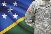 American Soldier With Flag On Background - Solomon Islands